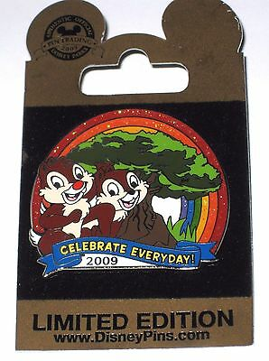 LE Disney Pin✿Chip Dale Celebrate Everyday Animal Kingdom Rainbow Glitter LE