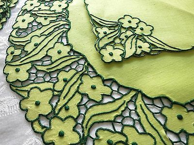 ~BOLD~ Vtg MADEIRA 20 Pc PLACEMATS NAPKINS Hand Embroidery Linen Cutwork GREEN