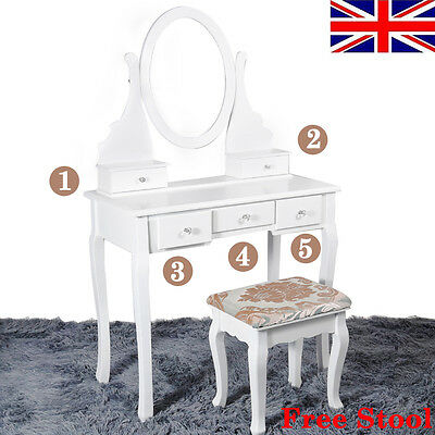 White Dressing Table Makeup Desk with Stool 5 Drawers and Oval Mirror Bedroom