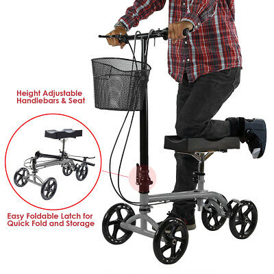 Foldable Medical Steerable Knee Walker Aid Scooter Crutch Roller Silver