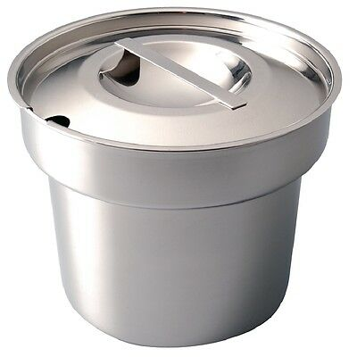 Vogue Stainless Steel Round Bain Marie Pot & Lid 4ltr / 7pt
