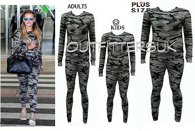 Women Ladies Kids Army Camouflage 2 PIECE Tracksuit Jogging Lounge Suit UK 5-22