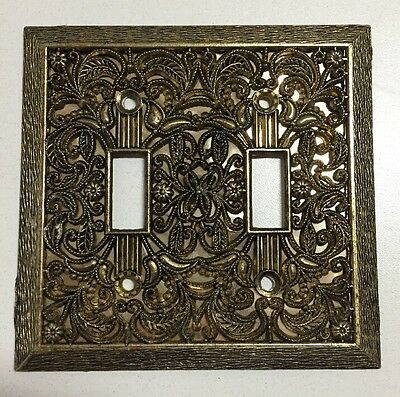 Vintage Brass Gold Double Light Switch Cover Plate Ornate Floral Filigree