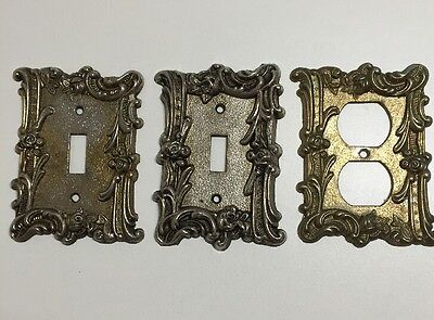 1 Outlet & 2 Single Light Switch Ornate Brass Floral Rose Cover Plates Lot