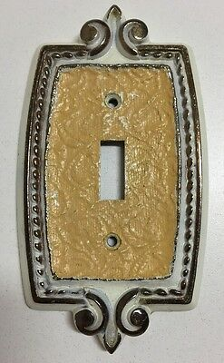 Vintage Amerock Bonaventure Single Toggle Light Switch Cover Plate Brass White
