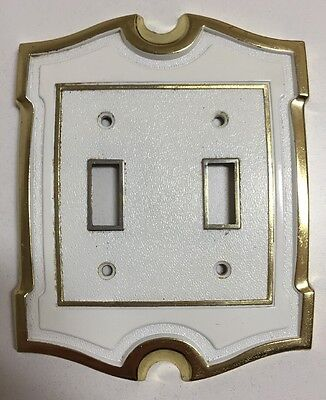 Vintage AH American Hardware White & Gold Brass Double Light Switch Cover Plate
