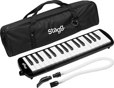 Reed Melodica 32 Keys with Soft Case Mouthpiece and Tube Black