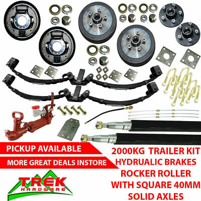 DIY 2000KG Rated Solid Axle Tandem Trailer Kit, Rocker Roller, Hydraulic Brakes