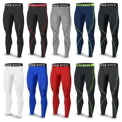 Mens Boys Sports Base Layer Compression LONG PANTS Skins Running Gym All Colors
