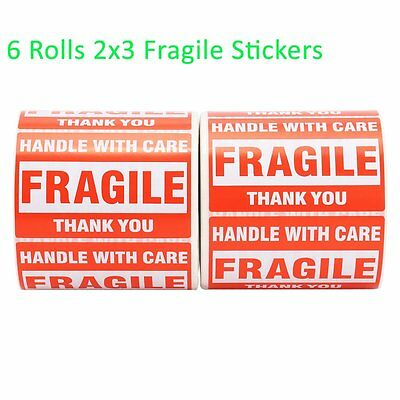 6 Roll 500/Roll 2x3 Fragile Sticker Handle with Care Mailing Label Free Shipping