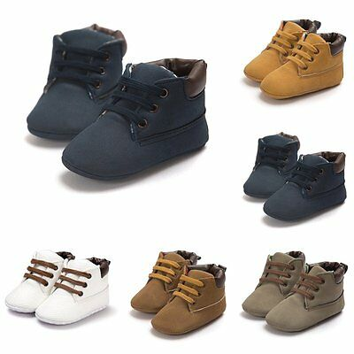 Baby Toddler Shoes Boy Girl Ankle Boots Lace-Up Crib Shoes Anti-slip Sneakers