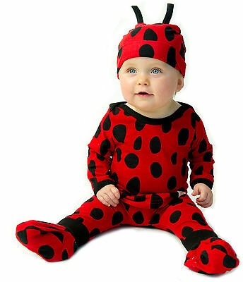 NOO Designs 4 Piece LADYBUG Baby Set with Hat Outfit Costume Dress up