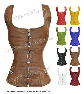 Heavy Duty 24 Double Steel Boned Waist Training Leather Overbust Corset #1215-LE