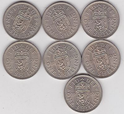 7 x 1953 SCOTTISH SHILLINGS IN NEAR MINT CONDITION