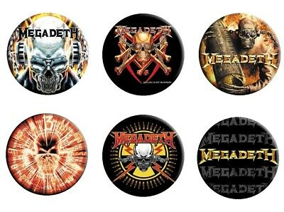 Megadeth 6 Button Badge Set #2 Killing Is My Business Logo Official Metal Badges