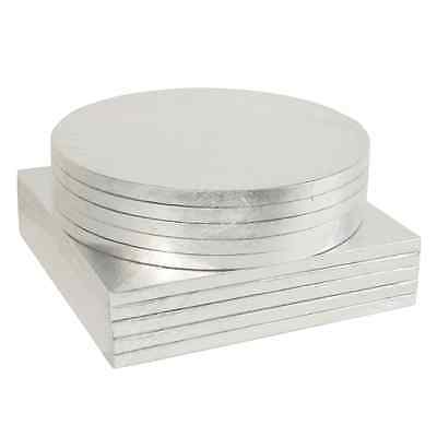 BULK 5 Pack - Round & Square Silver Cake Drum Boards - 12mm Thick