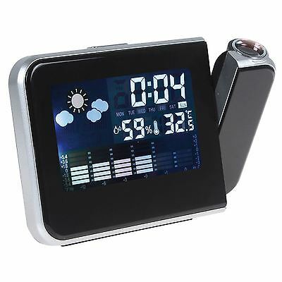 Digital Lcd Time Projector Led Weather Station Alarm Clock With Thermometer New