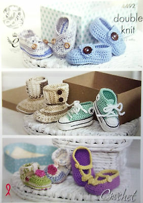 King Cole Crochet DK pattern baby shoes to fit 0 - 12 months  6 styles 4492