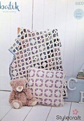 Stylecraft  DK Crochet pattern cot coverlet and cushion cover 9300