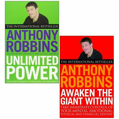 Tony Robbins 2 Books Awaken The Giant Within,Unlimited Power Collection Set NEW