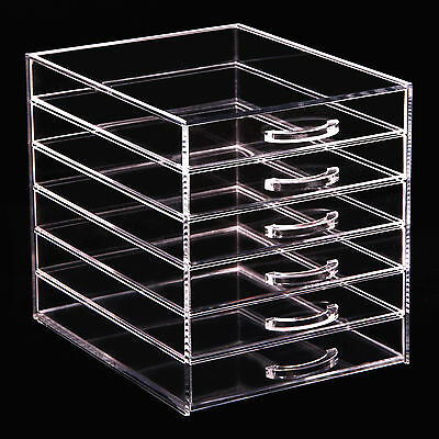 Large 6 Tier Clear Acrylic Cosmetic Makeup Organiser Storage Box Case 6 Drawers