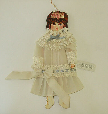 Cardboard Paper Doll Dressed in Fabric Slip Dress Style of 1800's