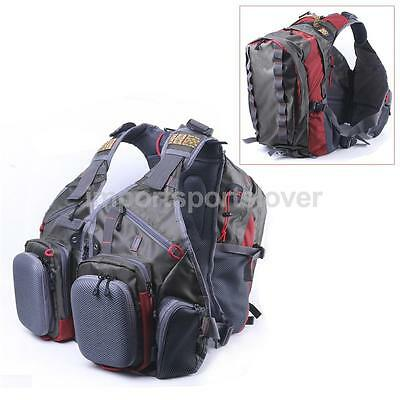 Multi-pocket Fly Fishing Backpack Chest Zip Mesh Bag Vest Hiking Army Green