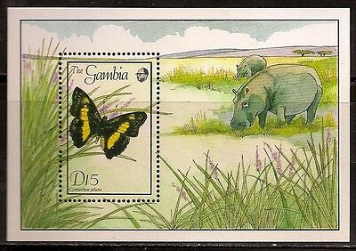 Gambia 1989 Buttefly Ss Sc # 845 Mnh