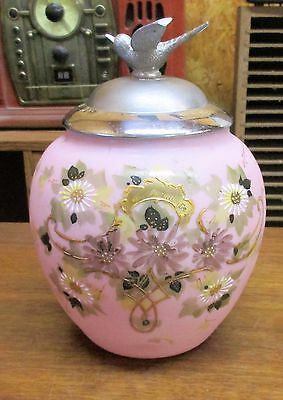 Antique Pink Bristol Glass Hand Painted Jar with Metal Bird Lid