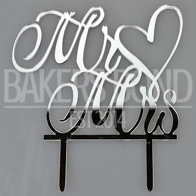 Silver Mr & Mrs Love Heart Acrylic Wedding Day Cake Topper Silhouette