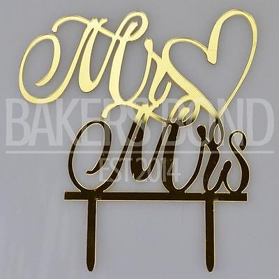 Gold Mr & Mrs Love Heart Acrylic Wedding Day Cake Topper Silhouette Decoration