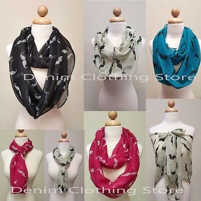 Women's Light weight MUSTACHE PRINT infinity scarf double circle cowl scarf loop