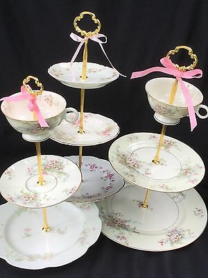 Wedding cake stand, 3 Tier Serving Tray, Limoges Plate, Vintage Wedding