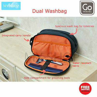 Go Travel Dual Wash Bag, Men's Toiletry Bag, Stores Grooming Essentials
