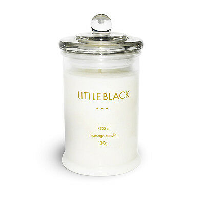 """""""NEW"""" LITTLE BLACK ROSE MASSAGE SOY WAX DRESS CANDLE 120g IN GLASS JAR"""