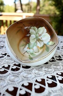 Antique SIGNED Handpainted NIPPON Square LILY Scallopped Bowl | Rising Sun c1911