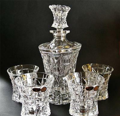 """Contemporary Bohemia Crystal """"Cube"""" 5 pc set - decanter and 4 tumblers NEW Boxed"""