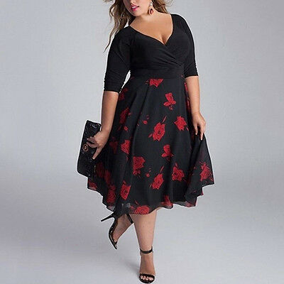 Sexy Women's Lady Plus Size V-Neck Patchwork A-Line Floral Party Dresses Popular