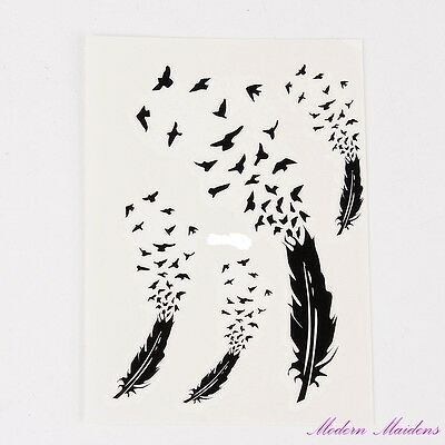 Feathers Birds Removable Temporary Tattoo Body Art 103x78mm