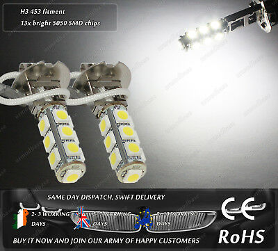 2x H3 453 LED White HID Xenon Fog Bulbs DRL Lamps W5W 501 T10 Running Lights 12v