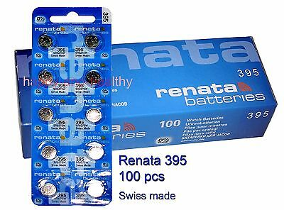 100 pcs Renata SR927SW 395 Silver Oxide watch Battery Swiss Made FREE shipping