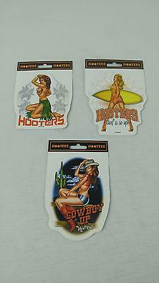 Hooters Restaurant Sticker Decal Lot of 3 Cowboy Up Surf Board Hula Girl