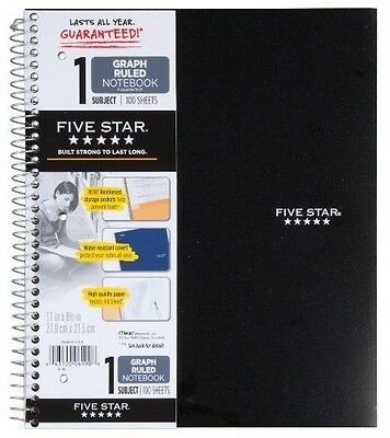 Five Star Spiral Notebook, Graph Ruled, 1 Subject, 8.5 x 11 Inches, 100 #5ZE