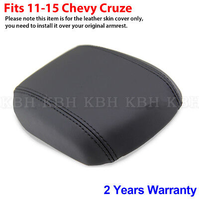 Fits 11-15 Chevy Chevrolet Cruze Leather Center Console Lid Armrest Cover Black