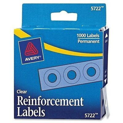 Avery Clear Self-Adhesive Reinforcement Labels, Round, Pack of 1000 5722