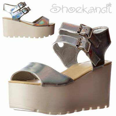 9a71f080b9f Womens Girls Double Buckle Summer Sandals Chunky Wedge Cleated Silver  Hologram