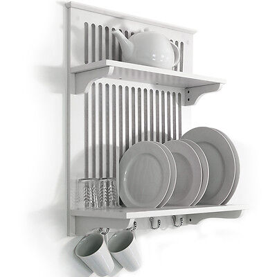 Wall Mounted White Kitchen Plate Rack / Dryer with cup hooks - White WD1873