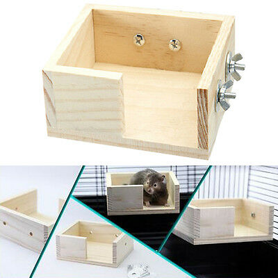 Wooden Parrot Bird Hamster Cage Perches Stand Platform Pet Budgie Hanging Toys