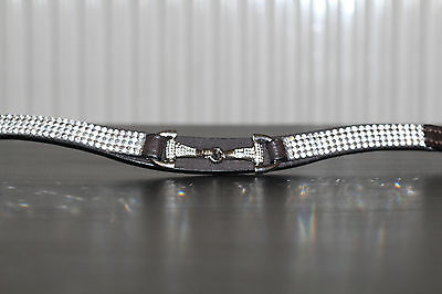 Equipride Diamante Crystal Browband Blingy Bit New Design in Black/Brown