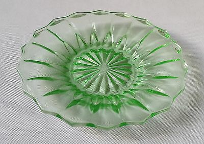 Collectable Vintage Art Deco Green Uranium Glass Small Plate